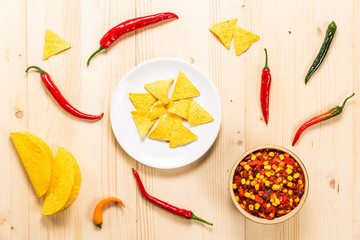 Mexican meal on a wooden background