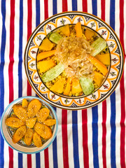 Couscous is a tasty, healthy and nutritious typical Moroccan dish. It can be cooked only with vegetables such as carrot, onion, pumpkin, zucchini, or add chicken or lamb meat