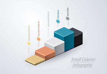 Infographic Layout with 3D Stairstep Elements