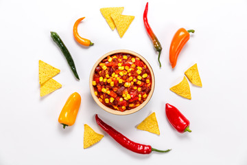 Mexican meal on a white background