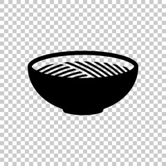 Bowl of noodles without chopsticks. Icon of asian or italian foo
