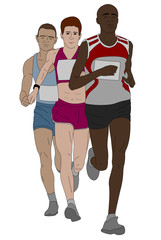 group of marathon runners illustration