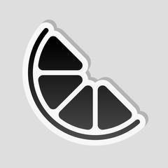 Half lemon or orange. Simple icon. Sticker style with white bord