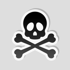 Skull and crossed bones. Simple icon. Sticker style with white b
