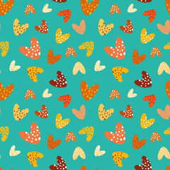 Funky bubbly hearts on turquoise background vector seamless pattern. Great decor for girls, giftwrap, scrapbooking and commercial projects.