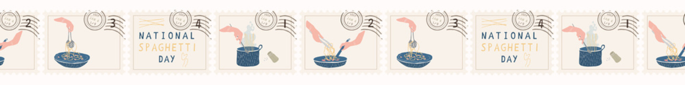 National Spaghetti Day Postage Stamps. Hand Drawn Seamless Vector Border Set. Cooking Pasta Food. Noodles Pot, Bowl, Pan Illustration Cookery Blog, Italian Restaurant Menu, Taste of Italy Celebration