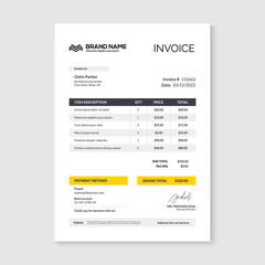 Invoice minimal design template. Bill form business invoice accounting