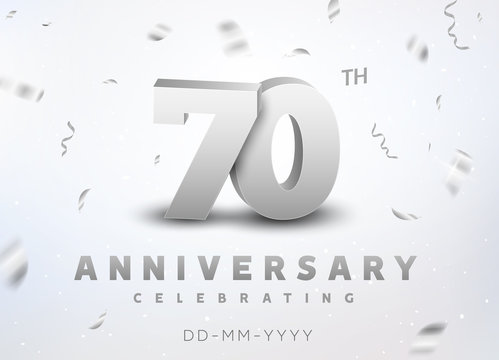 70 years silver number anniversary celebration event. Anniversary banner ceremony design for 70 age