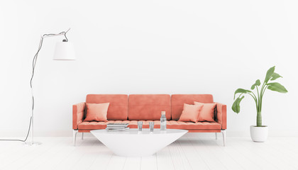 Living coral. Color of the year 2019. Neutral, bright interior room with a sofa, a table, lamp and plant. 3d illustration.