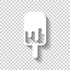 Ice lolly, eskimo on stick with chocolate, ice-cream. Simple icon. White icon with shadow on transparent background