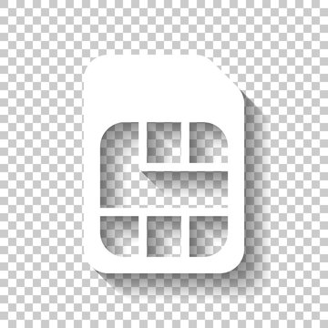 Electronic sim card, plastic mobile chip for cellphone. Simple icon. White icon with shadow on transparent background