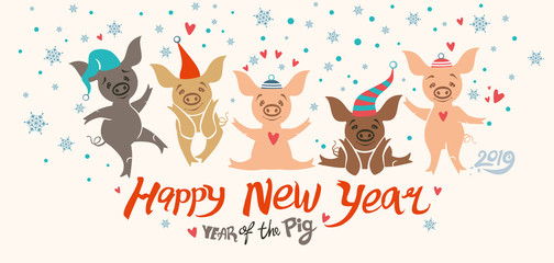 Christmas card with five cute cartoon pigs in holiday hats. Funny pigs dancing on the background of snowflakes and hearts. Happy New Year! Year of the Pig 2019.