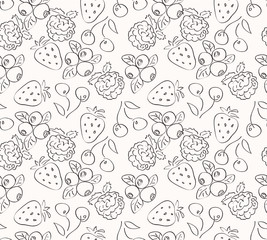 Berry fruit pattern, coloring page.