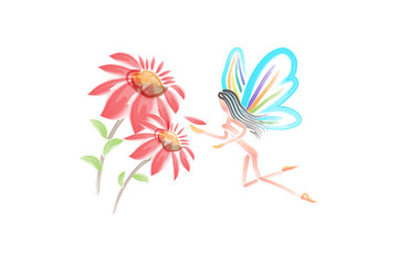 Watercolor flowers with a fairy girl butterfly vector image