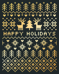 Vector Scandinavian style Happy Holidays card in gold and charcoal gray with reindeer, trees, snowflakes and hearts. Portrait format pixel design with text greeting for cards, posters and flyers.