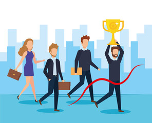 businesspeople with trophy cup award