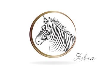 Zebra silhouette icon logo vector