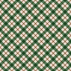 Green Plaid Seamless Pattern - Seasonal plaid design in vintage Christmas colors
