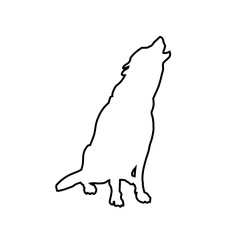 Howling wolf in line style