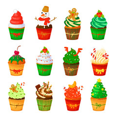 Vector Christmas cupcakes set isolated. cartoon style