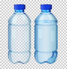 Set of transparent water bottle