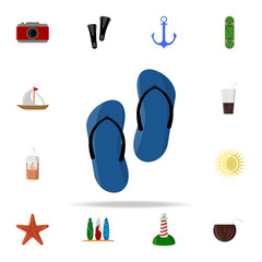 flip-flops colored icon. summer icons universal set for web and mobile