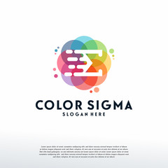 Colorful Fast Sigma logo vector, E letter logo designs template, design concept, logo, logotype element for template
