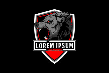 aggressive and angry wolf head vector with shield crest or badge logo template