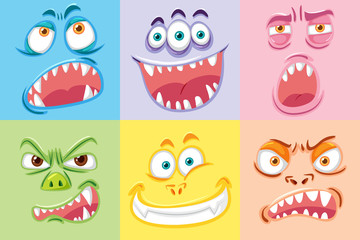Set of different monster face