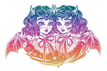 Gothic Victorian twin witch demon vampire girls heads portrait.