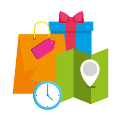 shopping bag with gift and map guide