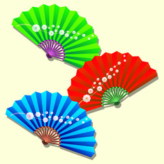 set of silk Chinese hand fans