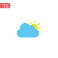Color Sun cloud icon isolated on background. Modern flat pictogram, business, marketing, internet concept. Trendy Simple vector symbol for web site design or button to mobile app. Logo illustration.