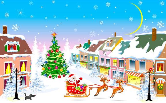 City, Christmas night, Santa Claus on a sleigh. Winter night on Christmas Eve
