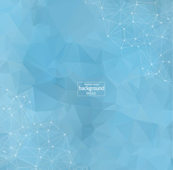 Abstract polygonal Blue light background with connected dots and lines, connection structure, futuristic hud background, vector illustration