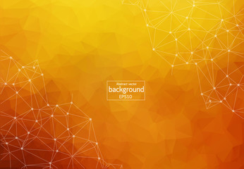 Abstract polygonal Dark orange background with connected dots and lines, connection structure, futuristic hud background, vector illustration