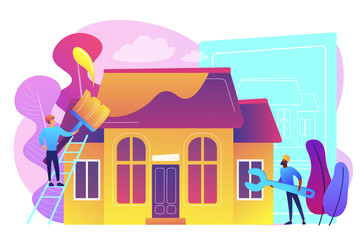 Workers with paintbrush and wrench improving the house. House renovation, property renovation, house remodeling and onstruction services concept. Bright vibrant violet vector isolated illustration
