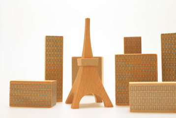 Wooden toy city miniature