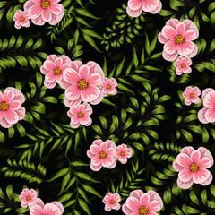 colorful watercolor flower seamless pattern