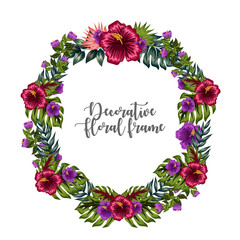watercolors floral frame ornament