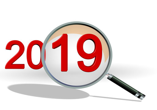 2019 review focus on details text numbers len - 3d rendering
