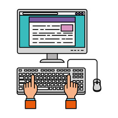 user hands with computer desktop