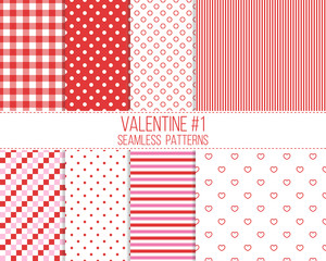 red and pink seamless valentine patterns set