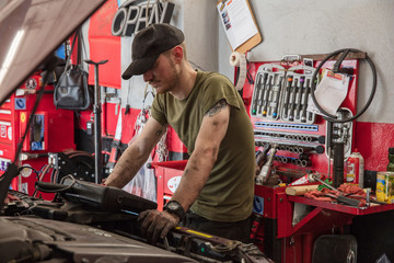 Mechanic repairing car in auto repair shop