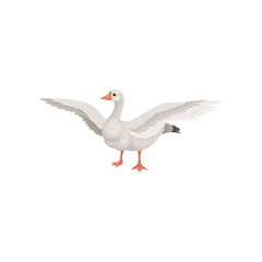 Farm goose standing with wide open wings. Bird with gray feathers, long neck, orange beak and legs. Flat vector icon