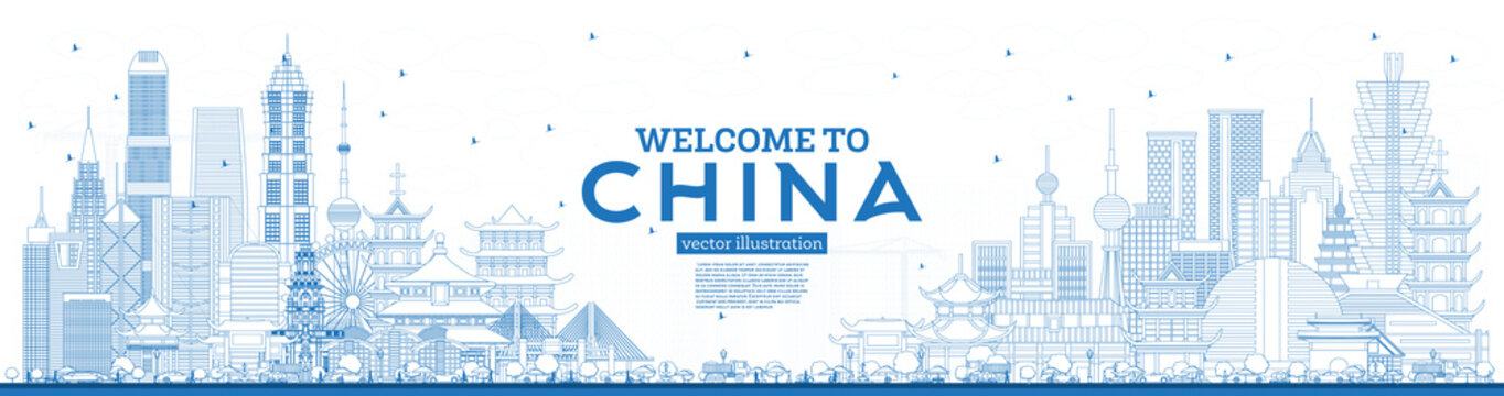 Outline Welcome to China Skyline with Blue Buildings. Famous Landmarks in China.