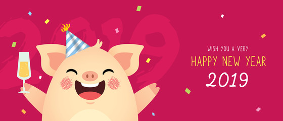 Happy New Year 2019 banner design. Cute cartoon pig with champagne on red background. Year of the pig vector illustration.