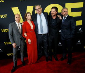 "Director McKay and cast members Rockwell, Adams, Bale and Carell pose at the premiere for the movie ""Vice"" in Beverly Hills"