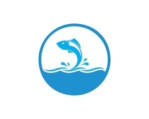 Fish logo template. Creative vector symbol of fishing club