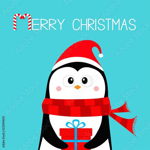 c35b71badf0bc Merry Christmas. Penguin holding gift box present. Red Santa hat and scarf.  Happy New Year. Cute cartoon kawaii baby character. Arctic animal. Flat  design.